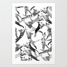 dog party black white Art Print
