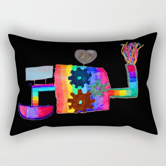 Colored fireworks machinery | Kids Painting by Elisavet Rectangular Pillow