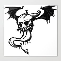 winged skull and tongue Canvas Print