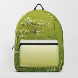Wild flowers and weeds. Backpack