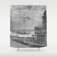 tomb raider Shower Curtains featuring Grant's Tomb and Battleships in Manhattan (1919) by BravuraMedia