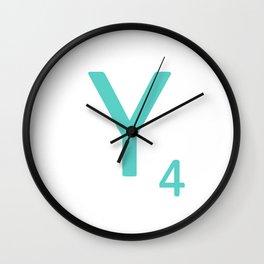 Blue Scrabble Y Letter Art Wall Clock