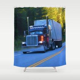 The Revelstoke Run Cargo Truck Shower Curtain