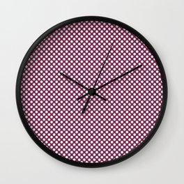 Raspberry Radiance and White Polka Dots Wall Clock