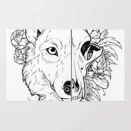 Wolf and Flowers Rug
