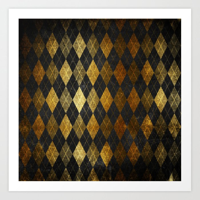 Black and gold geometric abstract pattern II- Luxury design for your home Art Print