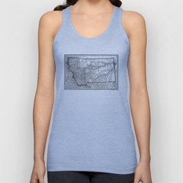 Vintage Map of Montana (1881) BW Unisex Tank Top