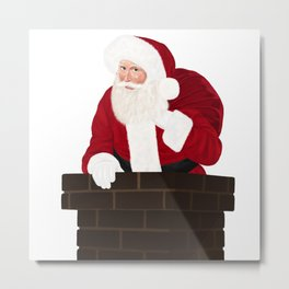 Santa Claus In Chimney Metal Print