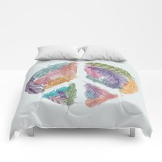 Feathers for Peace (Peace Sign) Comforters