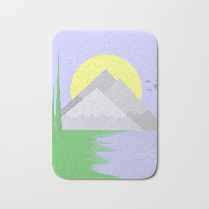 The mountains and the lake Bath Mat