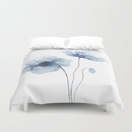 Blue Watercolor Poppies Duvet Cover