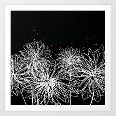 Black Doodle Floral by Friztin Art Print
