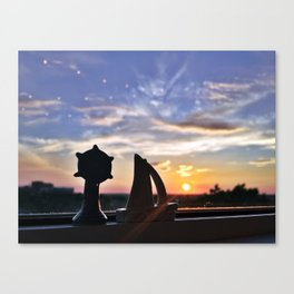Sunset Silhouettes in Portland, Maine Canvas Print