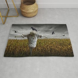 Scarecrow with Black Crows over a Cornfield Rug