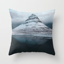 Iceland Mountain Reflection - Landscape Photography Throw Pillow