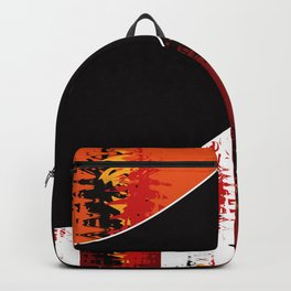 Bright colorful abstract pattern in red and black colours . Patchwork . Backpack