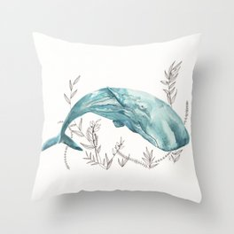 Sperm Whale Watercolor Throw Pillow