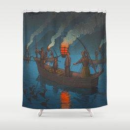 Beautiful Vintage Japanese Woodblock Print Japanese Fisherman Flame Torch Shower Curtain