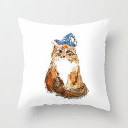 Maine Coon Cat Wizard Throw Pillow