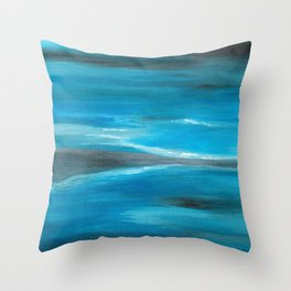 Blue Abstract Art In the Middle of the Ocean Throw Pillow