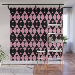 Classic Wheel and Diamond Futurist Pattern 215 Black and Pink Wall Mural