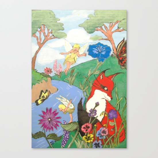 Fox And The Fairy Canvas Print