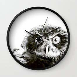 Portrait of Owl in black and white Wall Clock