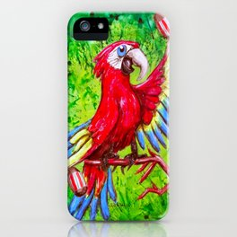Tropical Parrot with Maracas  iPhone Case