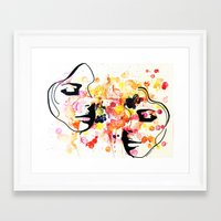 her art Framed Art Prints featuring #her by Yazmeen Collazo