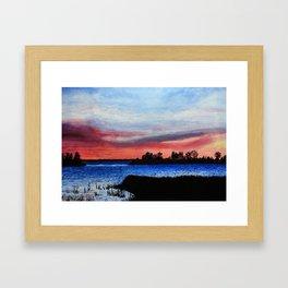 Sunset over Lake Champlain, Vermont Framed Art Print
