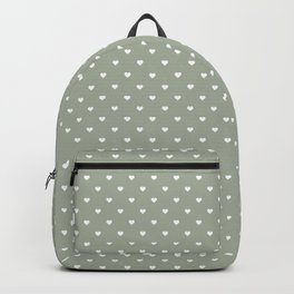 White Polka Dot Hearts on Desert Sage Grey Green Backpack
