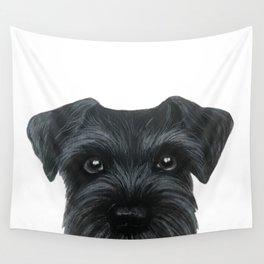 Black Schnauzer, Dog illustration original painting print Wall Tapestry