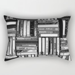 Music Cassette Stacks - Black and White - Something Nostalgic IV #decor #society6 #buyart Rectangular Pillow