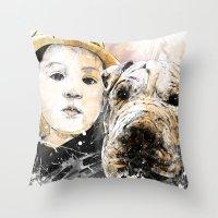 best friends Throw Pillows featuring Best Friends by Fresh Doodle - JP Valderrama