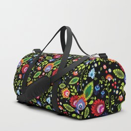 Folklore - multicoloured flowers and leaves Duffle Bag