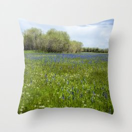 Field of Camas and Dandelions, No. 1 Throw Pillow