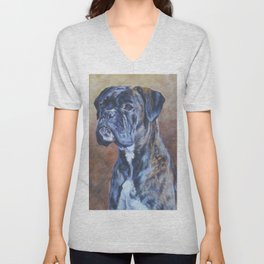 brindle BOXER dog art portrait from an original fine art painting by L.A.Shepard Unisex V-Neck