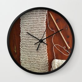 knitting,knit scarf, oatmeal color, natural color, craft, wood, Wall Clock