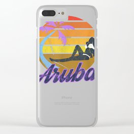 Aruba Caribbean Island Beach Island Retro Surf T-Shirt Clear iPhone Case