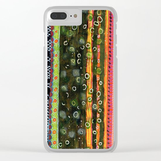 Absorbed Rings with Vertical Stripes Pattern Clear iPhone Case