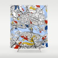 stockholm Shower Curtains featuring Stockholm by Mondrian Maps