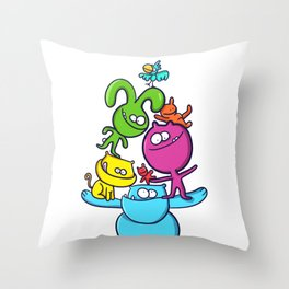 funny colorful animal tower Throw Pillow