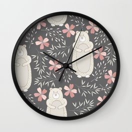Bear and Flowers Wall Clock
