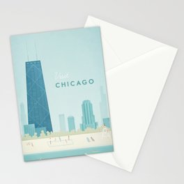 Vintage Chicago Travel Poster Stationery Cards