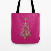 christmas tree Tote Bags featuring Christmas Tree by Mr and Mrs Quirynen