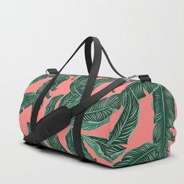 Banana leaves tropical leaves green pink #homedecor Duffle Bag