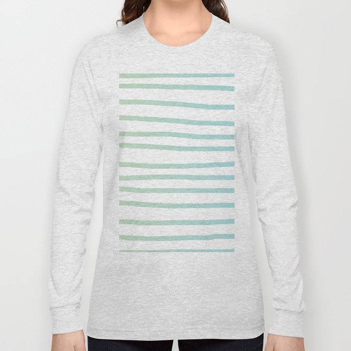 Simply Drawn Stripes in Turquoise Green Blue Gradient on White Long Sleeve T-shirt