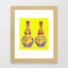 A PAIR OF UNDERGLAZE-BLUE AND FAMILLE-VERTE DOUBLE-GOURD VASES QING DYNASTY, KANGXI PERIOD Neon art Framed Art Print