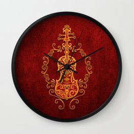 Aged Vintage Red and Yellow Tribal Violin Design Wall Clock