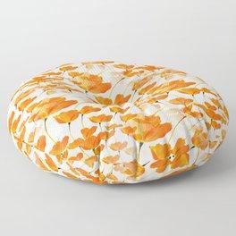Lot of Lovely Orange Poppies White Background #decor #buyart #society6 Floor Pillow